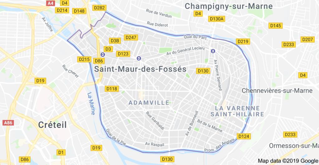 Plan de la ville de Saint Maur des Fossés